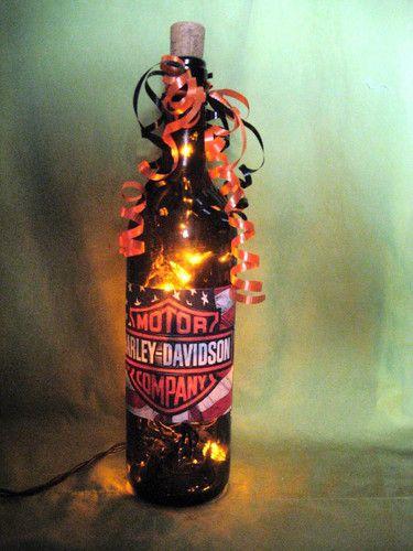 Harley Davidson Lighted Wine Bottle Accent Decor Light | eBay