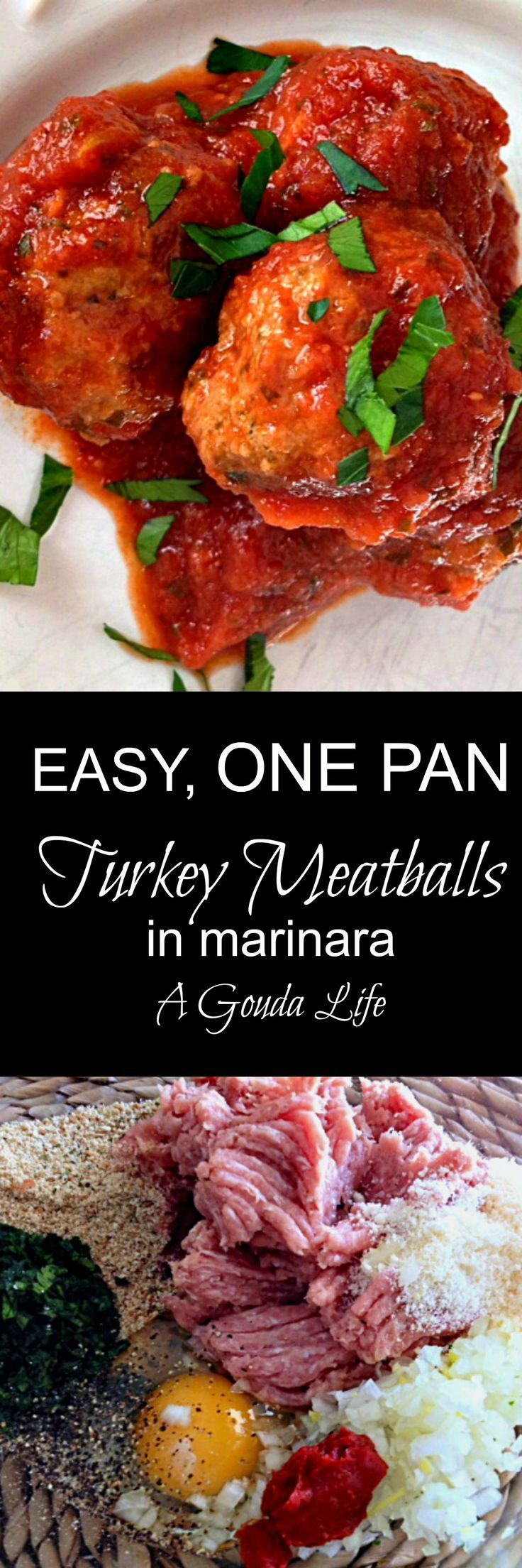 Healthy update on a classic Healthy Turkey Meatballs simmered in an easy any night marinara. Serve over whole grain pasta.