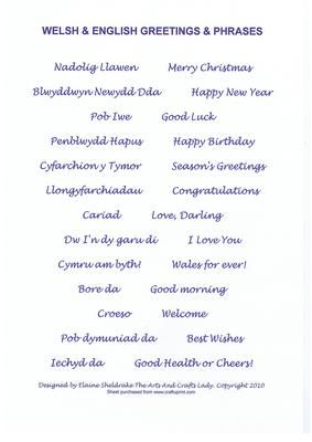 WELSH ENGLISH GREETINGS PHRASES BLUE BIRTHDAY CHRISTMAS on Craftsuprint - Add To Basket!