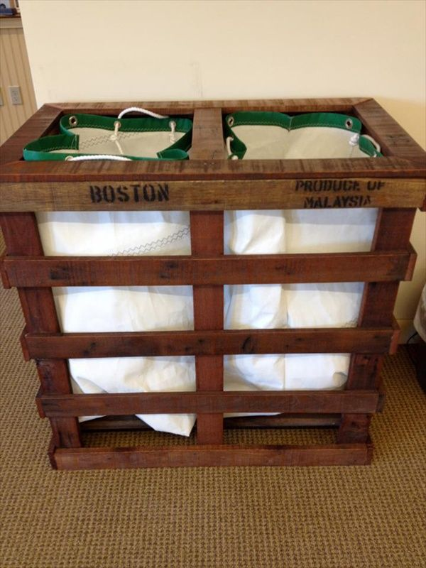 pallets upcycled   repurposed to laundry hamper   organizer • {links to 45 other pallet DIY tutorials}