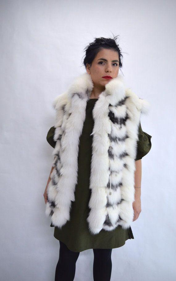 Real fox vest Platinum fox fur collared vest. Big by BeFur on Etsy