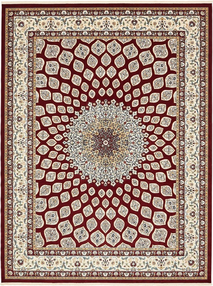 Nain Collection Persian Isfahan Design Traditional Area Rug ( 10' x 13' FT ) Burgundy Living & Dinning room Décor