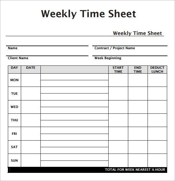 Weekly Employee Timesheet Template