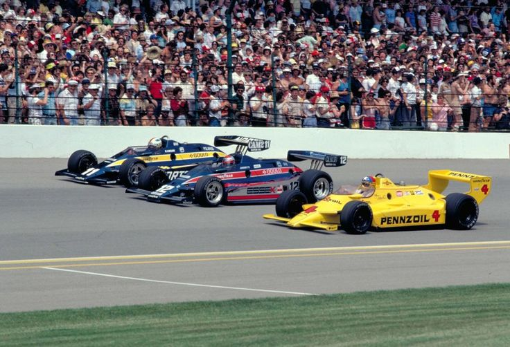 1980 Indy 500 Front Row. Johnny Rutherford, Mario Andretti, and Bobby Unser.