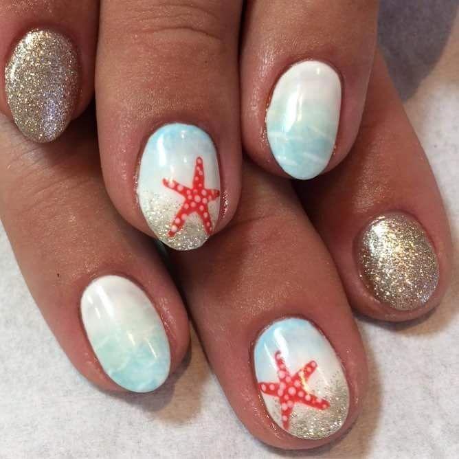 Coole Aqua und Golden Glitter Beach unter dem Motto Sommerferien Oval Nail Art #Holiday … – beach nail