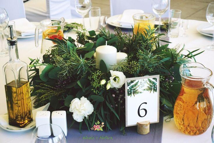 Wieńce na środek stołu gości.  #wedding #flowers #table #decoration #2016 #green