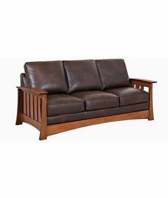 Stockton Mission Style Leather Queen Sleeper Sofa