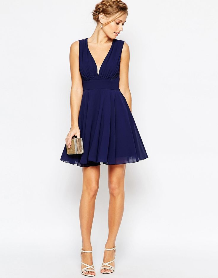 Image 4 of TFNC Plunge Neck Skater Dress
