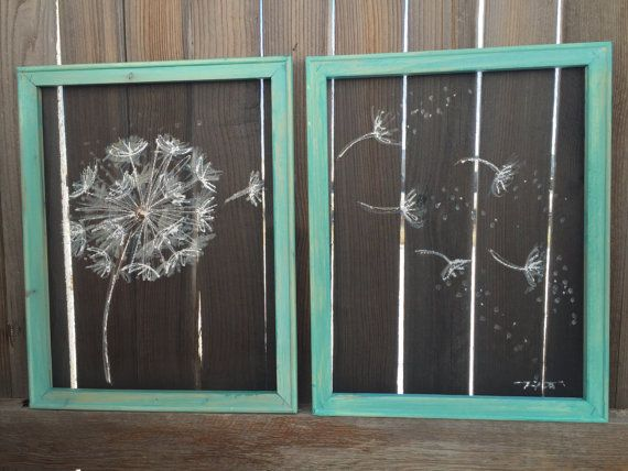 Old window Screen, Wood Frame  Dandelion,Set of two, Flowers, Recycle Set of 2 16X20 Inches this Screen and the wood frame are both recycle, hand