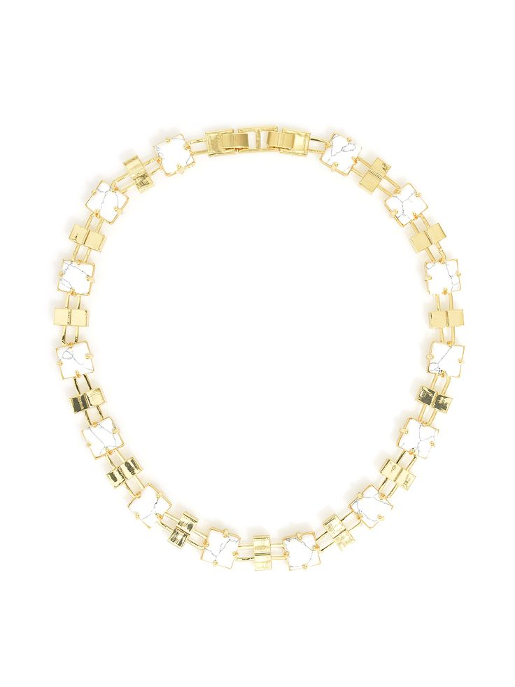 Square sophistication marble collar necklace