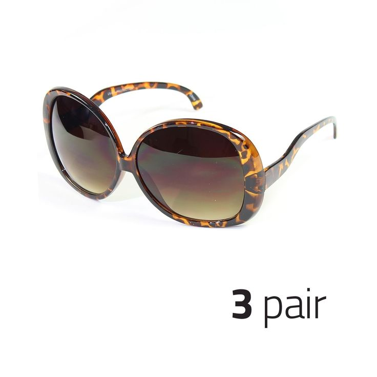 3 Pc Huge Extra Oversized Large Womens Retro Vintage Round Sunglasses Tortoise M