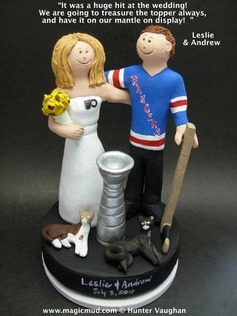 New York Rangers Wedding Anniversary Gift, Hockey Bride and Groom Wedding Cake Topper, Hockey Marriage Figurine    Hockey Wedding Cake Topper, custom created for you! Handmade to your specifications by magicmud.com of kiln fired clay. Perfect one of a kind personalized keepsake for a NHL Hockey Wedding.    $235 #magicmud 1 800 231 9814 www.magicmud.com