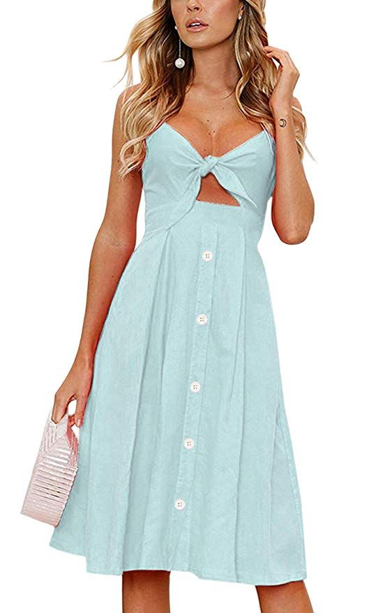 853003d16cb ECOWISH Womens Dresses Summer Tie Front V-Neck Spaghetti Strap Button Down  A-Line