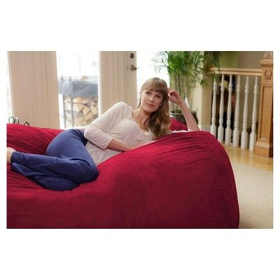 Large Memory Foam Bean Bag Lounger 6 ft - Cinnabar - Relax Sacks, Red