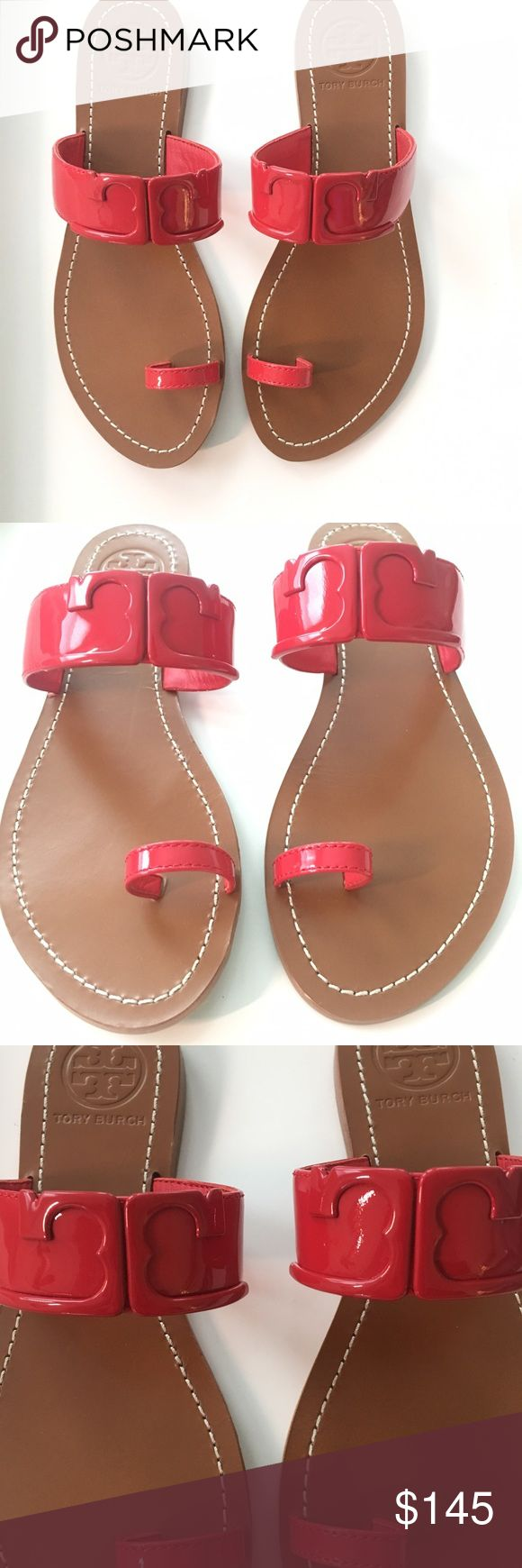 """Tory Burch Marcia Brilliant Red Slide Sandal NWOT, Tory Burch Marcia Brilliant Red Patent Leather Toe Ring Slide Sandal in a size 7.5, never been worn!! Sole measures 0.3"""", rubber outsole, leather lining. Strap bands instep with tonal logo. Tory Burch Shoes Sandals"""