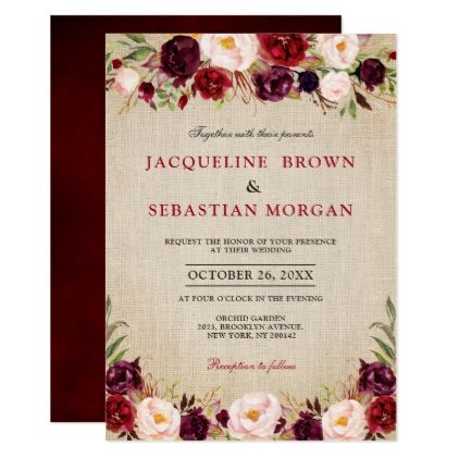 Watercolor Burgundy Red Floral Rustic Boho burlap Invitation | Zazzle.com