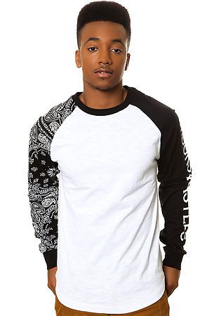 Crooks and Castles Tee Squad Life Raglan White Black - Karmaloop.com