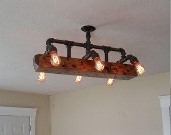 Agobiados de madera viga tubo colgante luz por RuralIndustrial