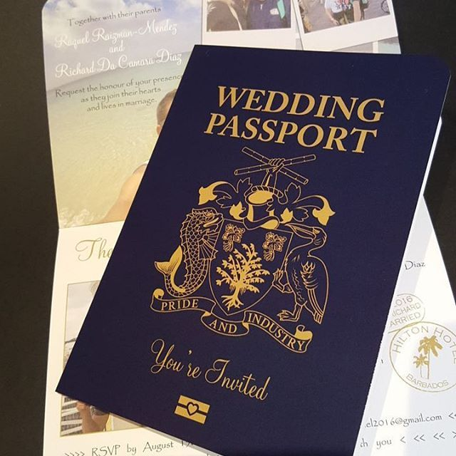 This Barbados Passport Invitation has just been added to my selection, what a great crest they have. The wedding is taking place at the stunning Hilton Barbados Resort. Getting married about? Choose your own crest for no extra charge