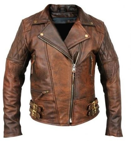 Incredible Mens Brown Leather Motorcycle Jacket Desirable