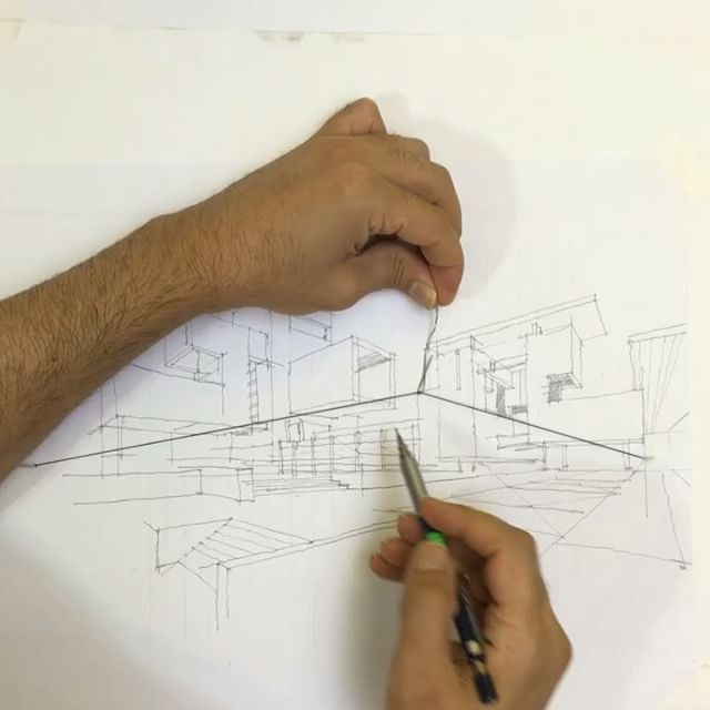Perspective drawing with thin string:)