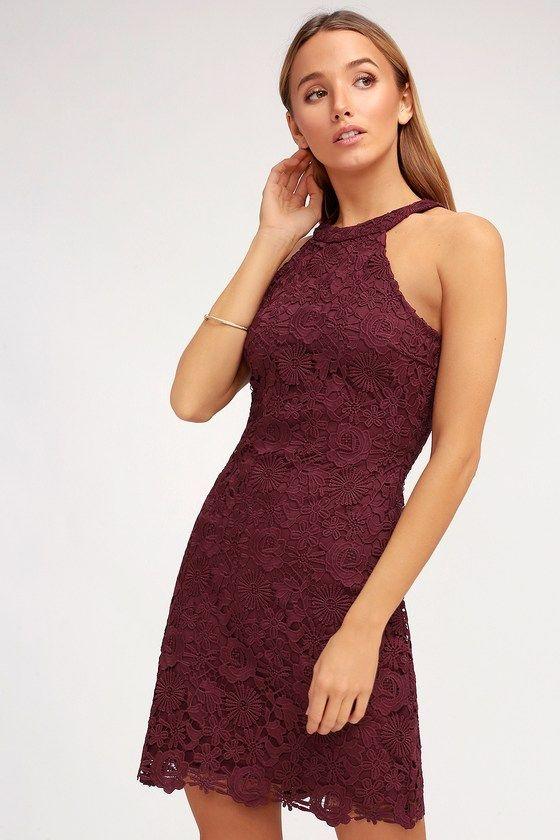 3775ab89f Lulus | Love Poem Burgundy Lace Dress | Size X-Small | 100% Polyester |  Style | Lace burgundy dress, Dresses, Lace dress