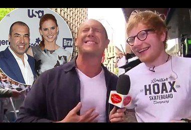 Larry Emdur gives Ed Sheeran a kangaroo testicle lighter