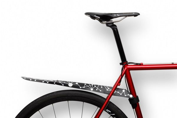 Fendor-Bendor foldable bike fender illustrated by Gracia Khouw Bicycle Rain Gear: fender / mudguard that folds up to store