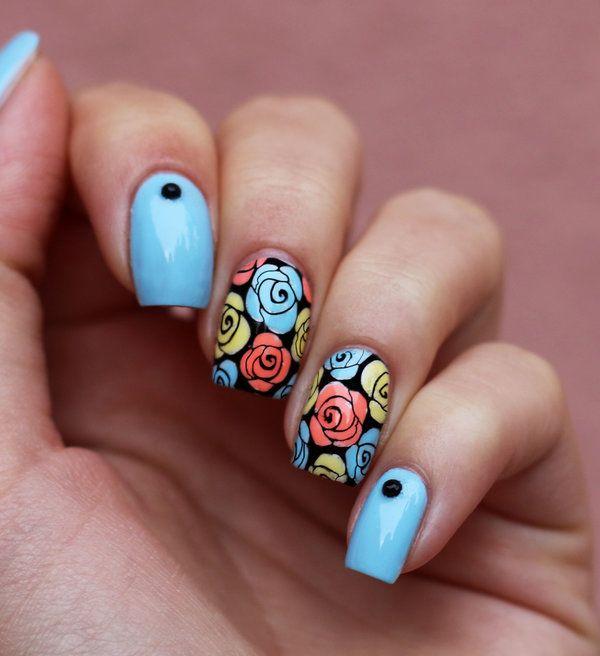 beautiful rose nail design