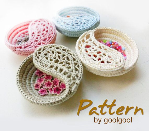Crochet Bowl Pattern, Freeform Crochet Jewelry Box Photo Tutorial. DIY Paisley Jewelry Dish PDF.