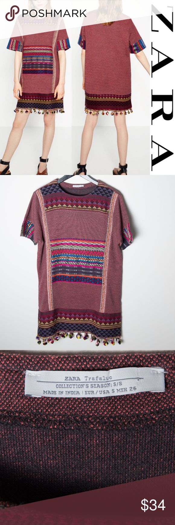 Zara Multicolor Pom Pom Shift Dress Small Zara shift dress size small. Multicolored aztec / boho dress. Short sleeve, crew neck. Detailed embroidery at hem and sleeves. Pom pom details around hem. Care and content tags have been removed - I believe it is 100% cotton. Good preloved condition. No noticeable holes, stains or rips. Zara Dresses Mini