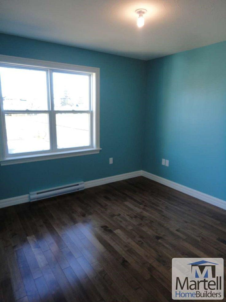 Dark hardwood floor blue walls  66 Cedar  Painted wood