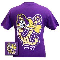 ECU East Carolina Pirates Anchor Bow Girlie Bright T Shirt | SimplyCuteTees