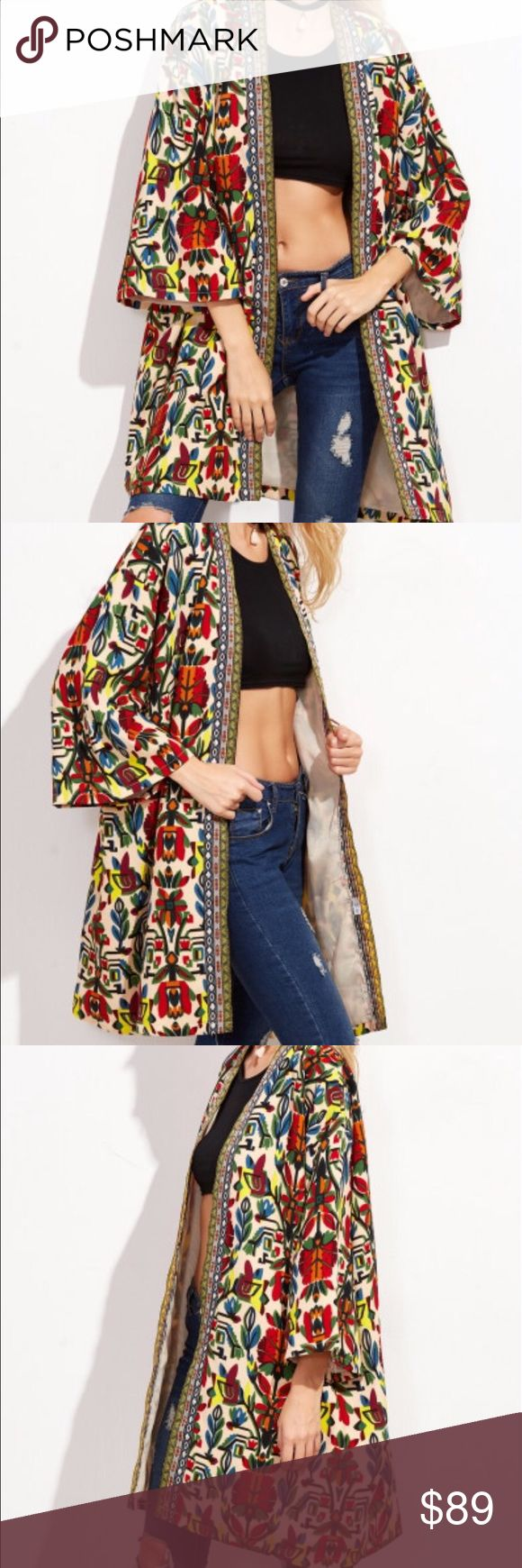 Tribal print open cardigan Tribal print open cardigan or topper. 95% corduroy and 5% spandex. Fabric has no stretch. New without tags retail. Never worn. Ships within one week. ShopNicety Jackets & Coats