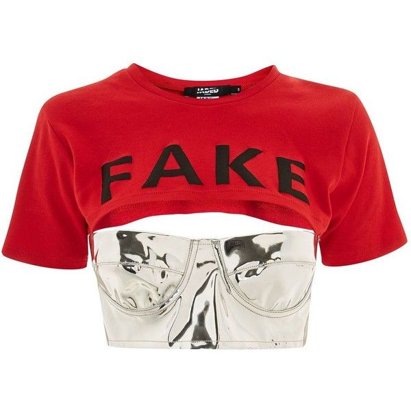 'Fake' Slogan Crop T-Shirt Bralet by Jaded London ($60) ❤ liked on Polyvore featuring tops, crop tops, red, longline tops, red bralette top, bralette tops, bralette crop top and bralet tops
