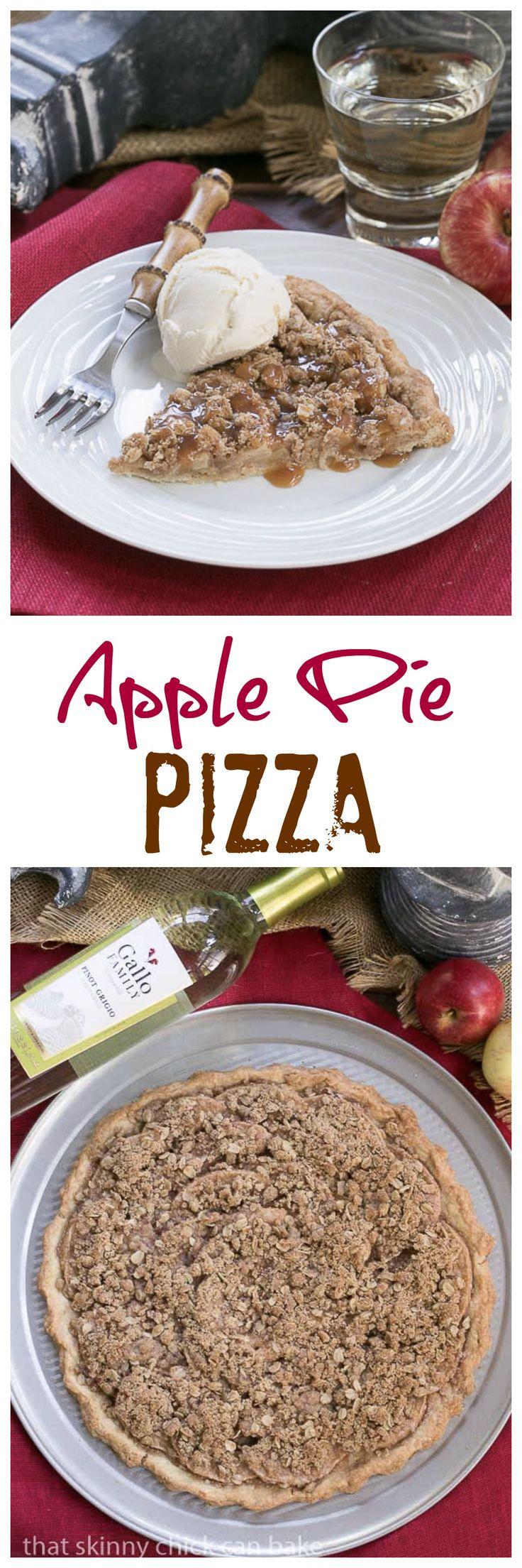 Apple Pie Pizza | A dessert pizza made with a pastry crust, spiced apples, streusel and drizzled with caramel @lizzydo