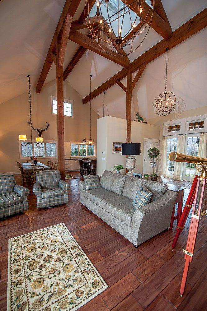 The cabot barn home has a post and beam open concept for Open beam house plans