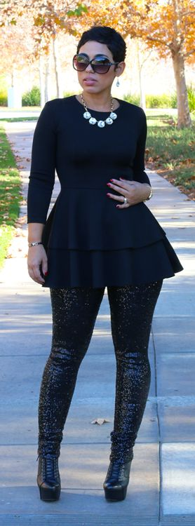 I'm loving this top! I would pair it with plain black leggings instead though...the sequins are throwing me off a bit.lol