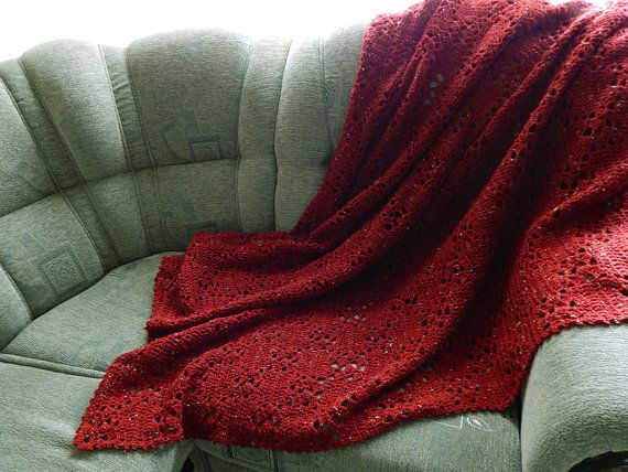 Crochet Red Blanket Sofa Cover Dark Red Sofa Throw