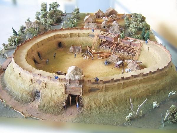 Reconstruction of the early medieval Slavic gord (fortified settlement) and village in Bródno near Warsaw, Poland