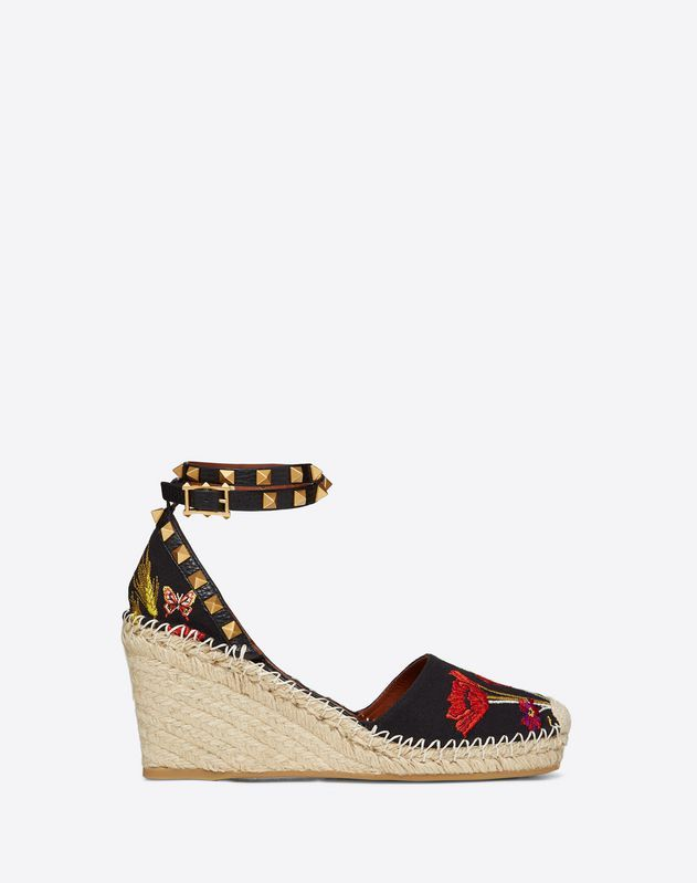 d9d59a20524 VALENTINO POPPY EMBROIDERY ROCKSTUD DOUBLE WEDGE ESPADRILLES 65MM ...