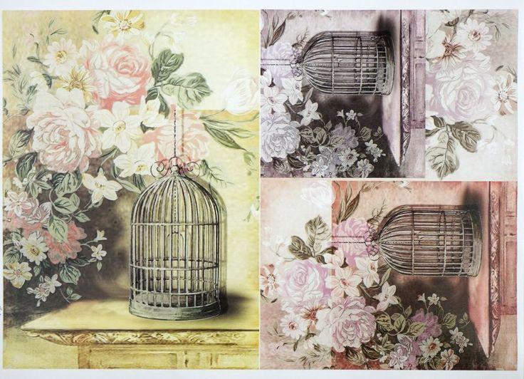 A/4 Classic Decoupage Paper Scrapbook Sheet Vintage Birdcages
