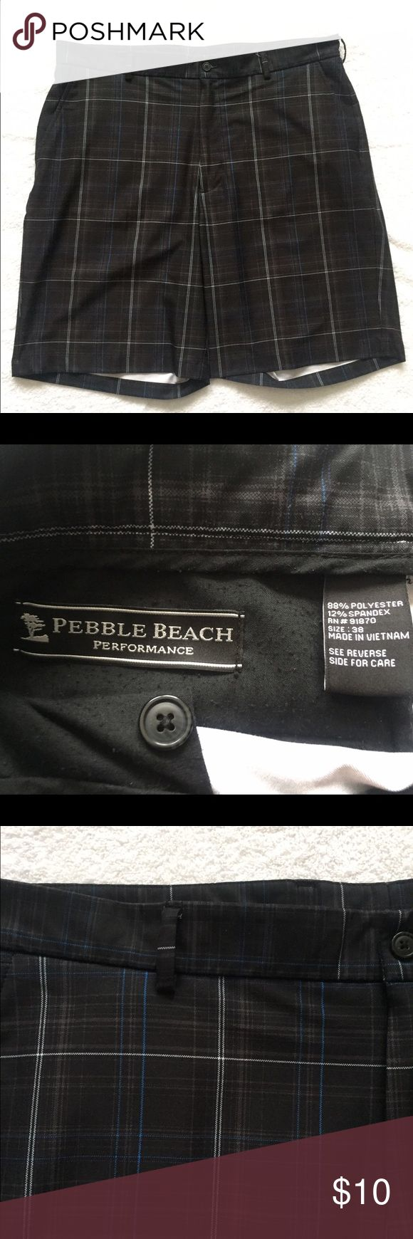 "Pebble Beach Performance shorts Men's Plaid shorts, very good used condition. 38"" waist Pebble Beach Shorts"