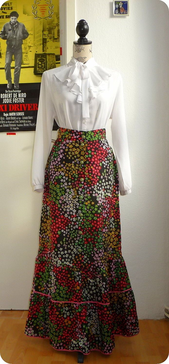 Vintage Maxi Rock 60er 70er Hippie Gypsy Boho XS-S Skirt Blumen Pioneer Peasant in Kleidung & Accessoires, Vintage-Mode, Vintage-Mode für Damen | eBay