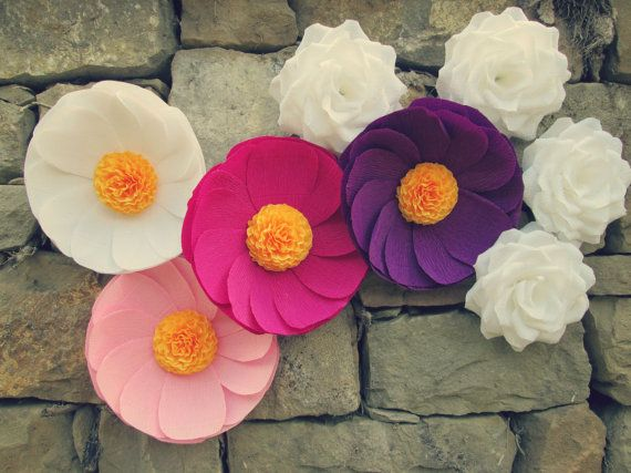 8 Giant Paper Flowers Giant Paper Roses Wedding Decoration