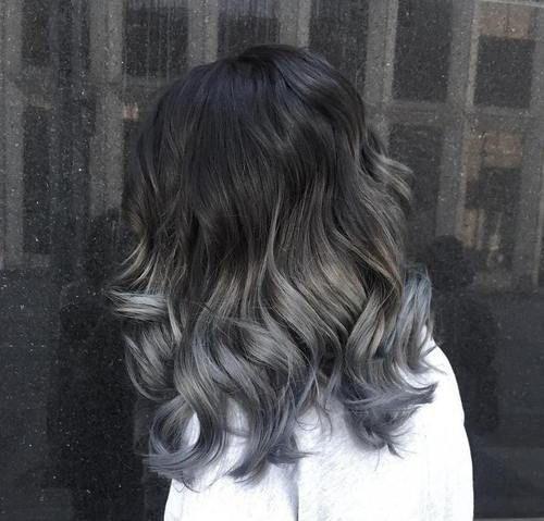 black to gray medium-length ombre hair