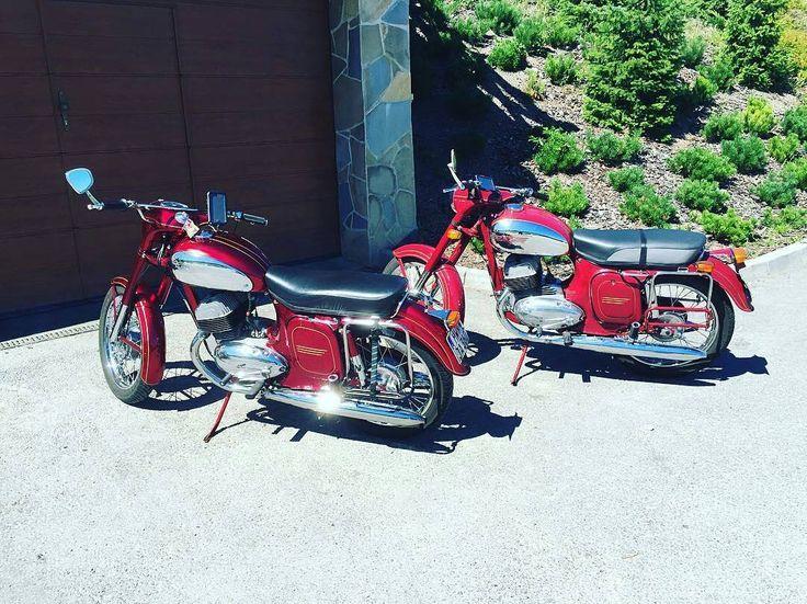 Beauties of Heaven!  JAWA MOTORCYCLES.  Photo courtesy of @jakubbelko  More photos on - http://ift.tt/1MOOLiU (Link in Profile) | #jawa | #jawamotorcycles.com | #idealjawa| #2stroke | #chrome | #Cz | #biker | #motorcycles | #imtheindianbiker | #yezdi | #yjoci | #retro | #czech | #vintage | #vintagestyle |#india | #motorbike | #caferacer | #bikeporn | #instamotogallery | #dirt | #bike | #picoftheday | #gopro | #motocross | #motorcycleyard |