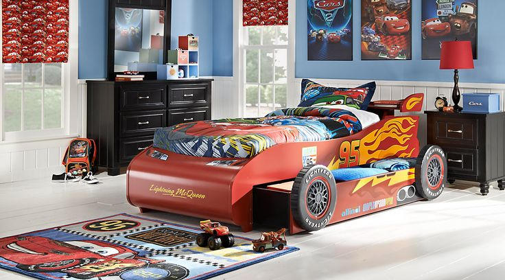 Affordable Disney Cars Bedroom Furniture For Sale. Disney Cars bedroom set featuring a Lightning McQueen bed, dresser, and mirror. Matching Disney Cars furniture pieces also available.#iSofa #roomstogo