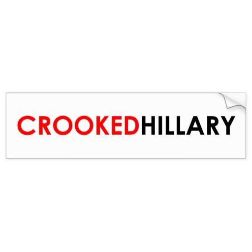 Crooked Hillary Bumper Sticker (White) #crookedhillary #neverhillary #trump2016 #feelthebern #livefree