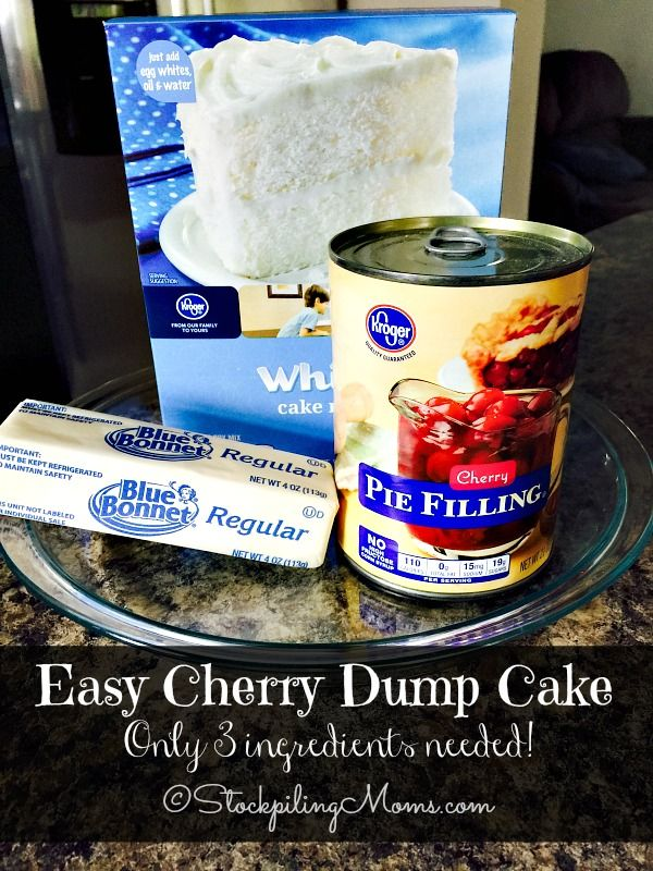 This Easy Cherry Dump Cake recipe is only 3 ingredients and tastes amazing!